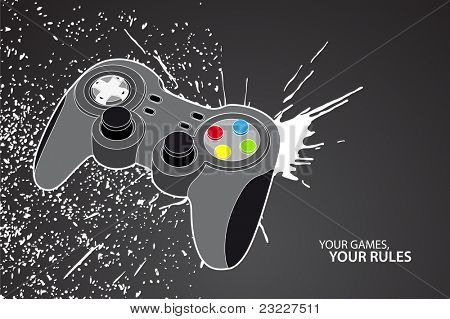 poster of Vector console or PC joystick on black background