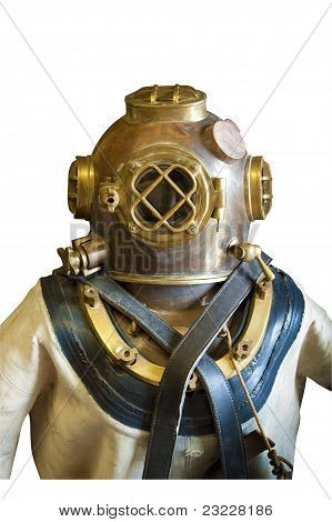 Diving suit and helmet, isolated