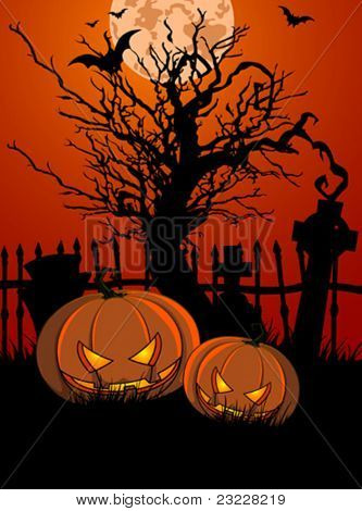 Halloween Illustration with Tombstone and Pumpkins for banners or invite