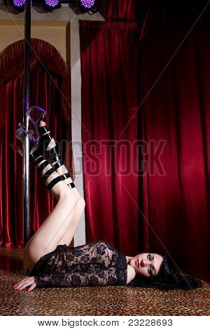Stripper Lying On Stage