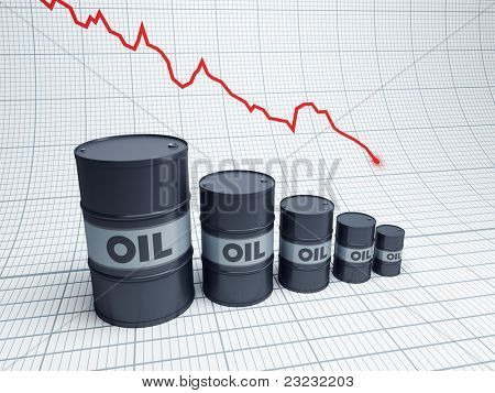 fall down of oil barrel, 3d rendering