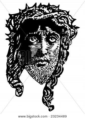 Engraving portrait of Jesus vector