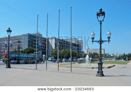 BARCELONA, SPAIN - AUGUST 18: Detail of Avinguda Diagonal on August 18, 2011 in Barcelona, Spain. This avenue, about 11 kilometers-long, cuts the city in two, diagonally from west to east.