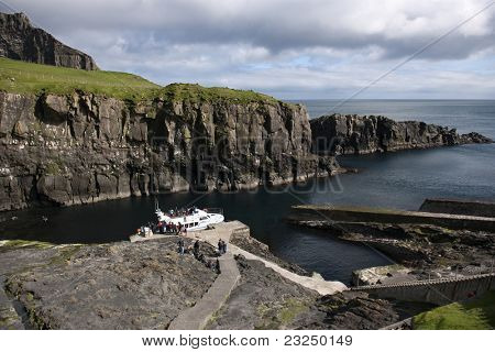 Boat arrival on Mykines, Faroe Islands