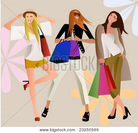 three fashion shopping bag girl