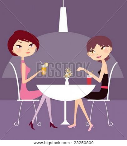 two girl drink and talk