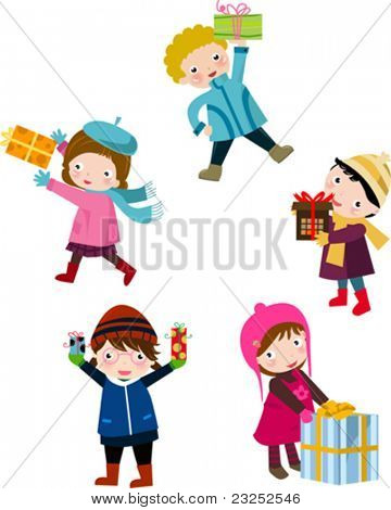 children and gift box 2