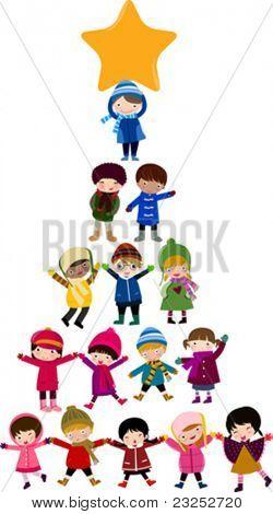 Christmas tree cartoon kids