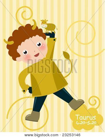 Zodiac- illustration of a boy-taurus