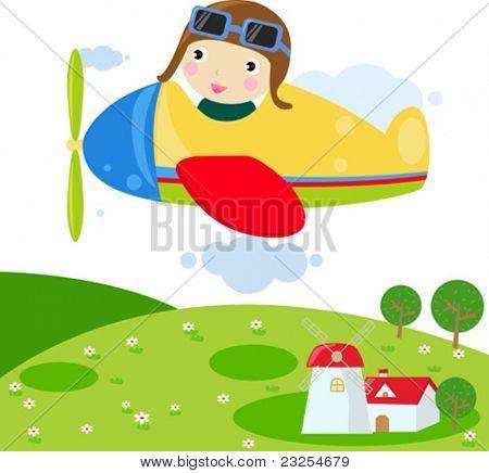 Child in Plane