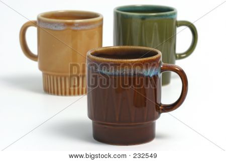 Coffee Cups Over White