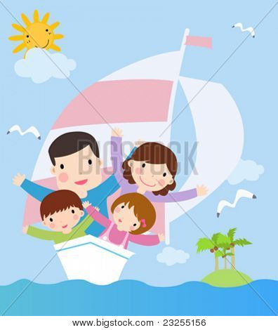 family in ship. cartoon vector illustration
