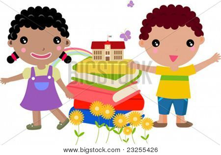 Various kids andbook - vector illustration.