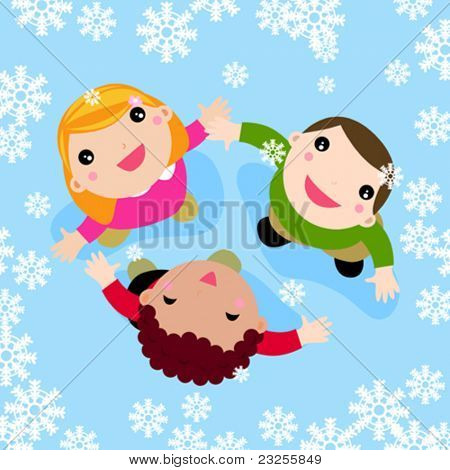 Multicultural children playing in the falling snow