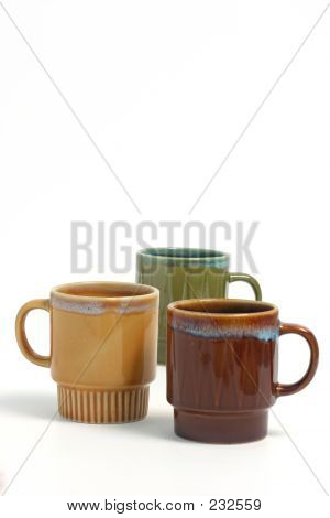 Coffee Cups Over White B