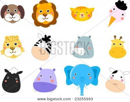animals face set