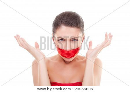 Angry Woman With  Mouth Covered