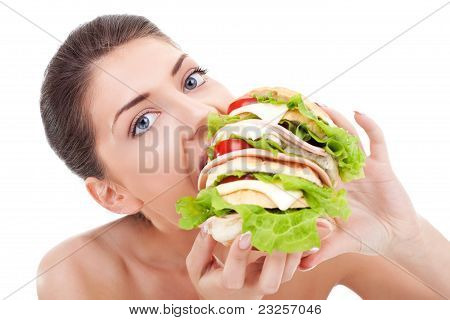 Young Woman Eating Fast Food
