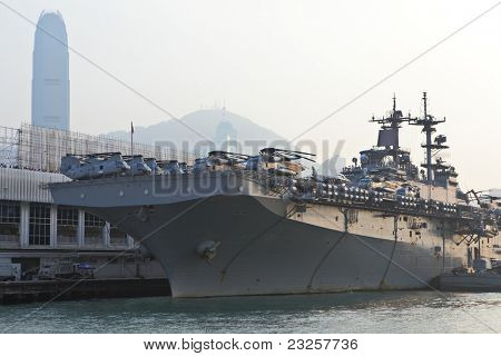 HONG KONG - SEPT. 3: USS Boxer (LHD-4) on Sept 3, 2011 in Hong Kong. The USS Boxer (LHD-4) is a Wasp-class amphibious assault ship of the United States Navy.