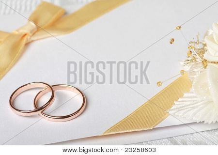 Wedding Rings And Wedding Invitation