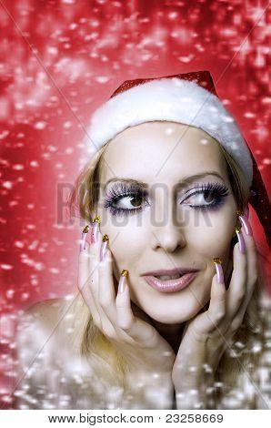 Woman Model. Christmas Bright Make-up