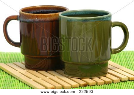 Two Coffee Cups Green