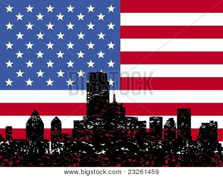 Grunge Dallas skyline with American flag illustration