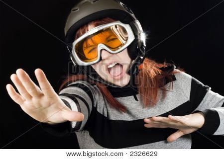 Girl Wearing A Ski Helmet And Googles