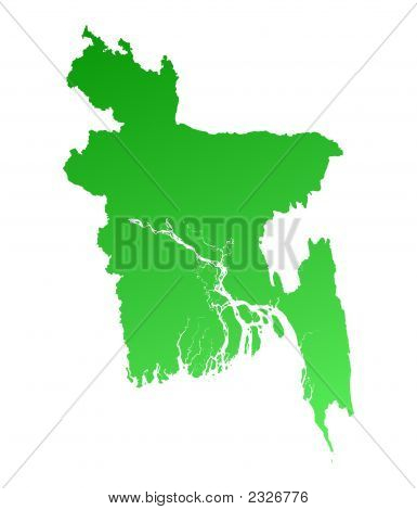Green Gradient Bangladesh Map