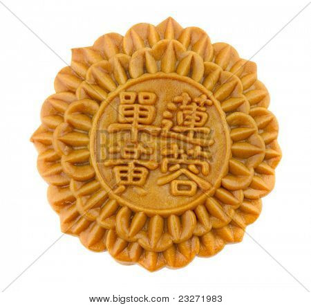 Chinese Mooncake over white background, Chinese words on the mooncake means