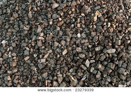 Closeup de bultos de carbón negro