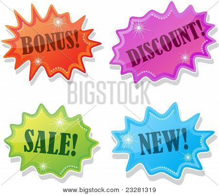 Stickers for sale, vector illustration
