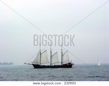 Tall Ship On A Misty Day