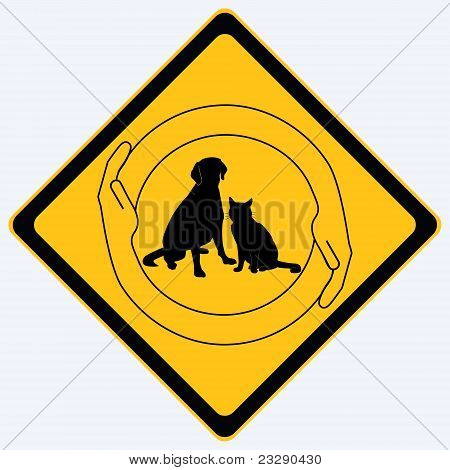 Pet protection sign vector