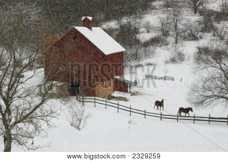 Snowing On The Valley Farm
