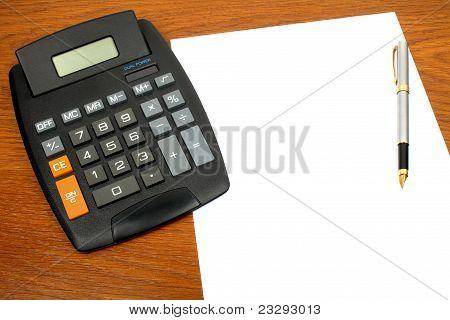 calculator, paper, pen