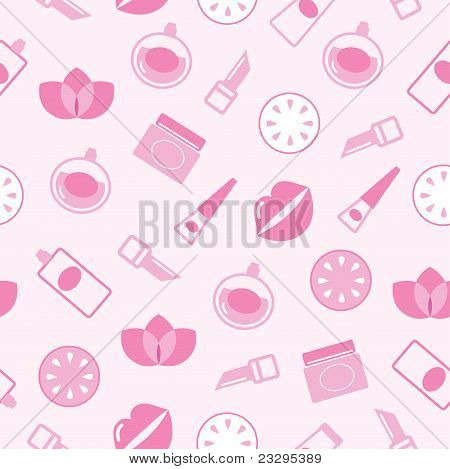 Cosmetics seamless pink pattern or texture, background