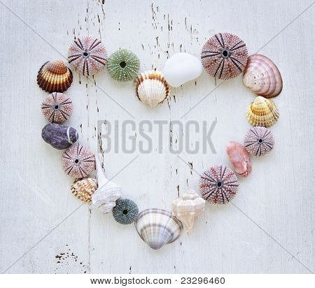Heart Of Seashells And Rocks