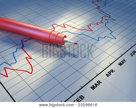 Document showing some stock market trends. A red plastic pen lays over the graph. Digital illustration.
