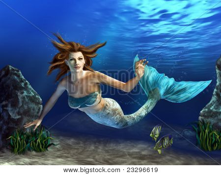 Beautiful mermaid swimming in a blue sea, surrounded by rocks, plants and fishes. Digital illustration.