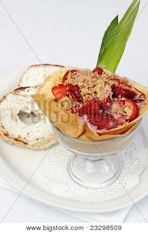Strawberry Yogurt Mixed With Rasberry Coulis Inside French Crepe