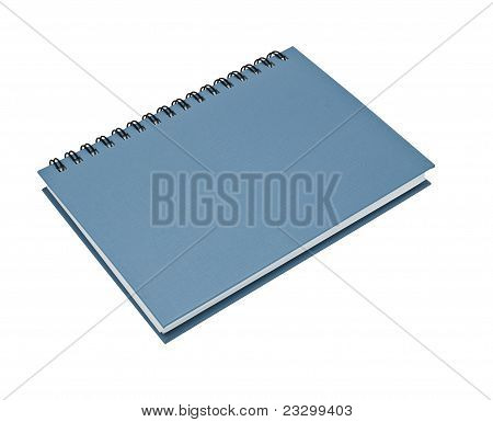 Stack Of Ring Binder Book Or Blue Notebook