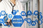 Medical Doctor  And Antibiotic Resistance Words In Medical Network Connection On The Virtual Screen  poster