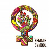 Feminism Protest Symbol Vector. Feminism Woman Gender Power. Female Icon. Feminist Hand. Girls Right poster