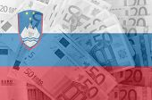 Flag Of Slovenia With Transparent Euro Banknotes In Background
