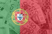 Flag Of Portugal With Transparent Euro Banknotes In Background