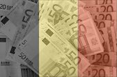 Flag Of Belgium With Transparent Euro Banknotes In Background