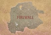 Word Firewall Written In Red On A Broken Wall poster