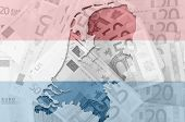 Outline Map Of Netherlands With Transparent Euro Banknotes In Background And Dutch Flag