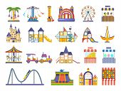 Children S Amusement Outdoor Park, With Attractions, Carousels, Roller, Fun Entertainments, Counters poster